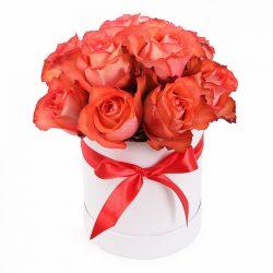 13 оранжевых роз в коробке